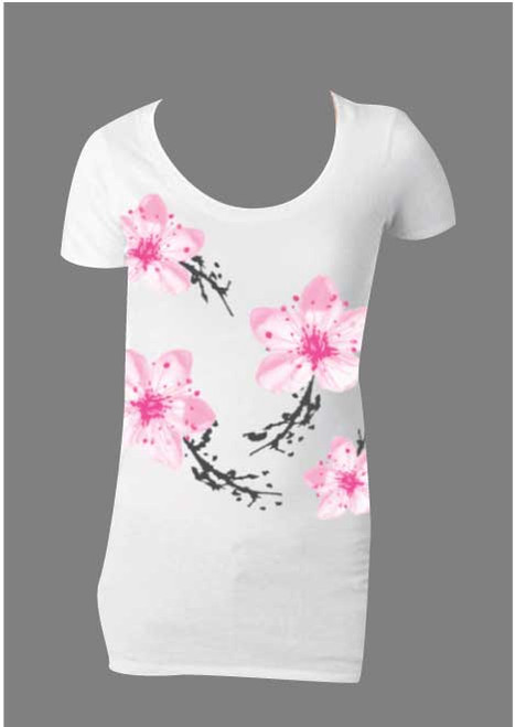 Ladies Fitted Overprint Scoop Neck T-Shirt