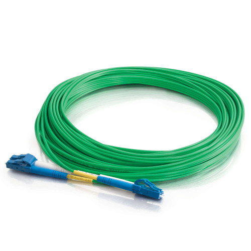 3m LC-LC 9/125 OS2 Duplex Single-Mode PVC Fiber Optic Cable - Green