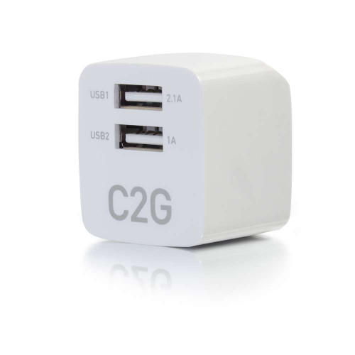 C2G-22322 | 2-Port USB Wall Charger - AC to USB Adapter, 5V 2.1A Output