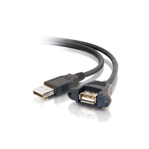 C2G-28061 | 1ft Panel-Mount USB 2.0 A Male to A Female Cable