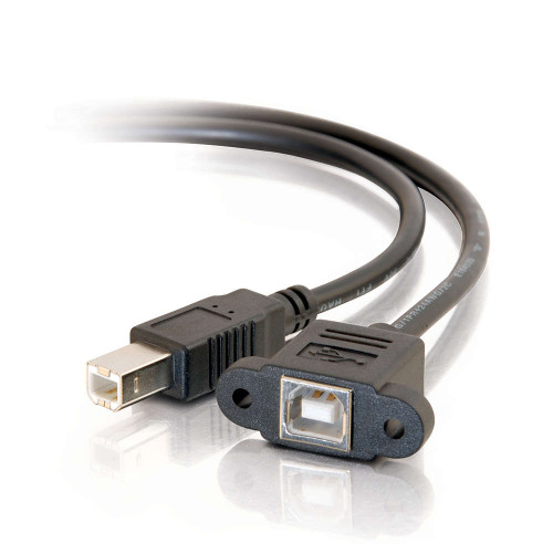 C2G-28073 | 2ft Panel-Mount USB 2.0 B Female to B Male Cable