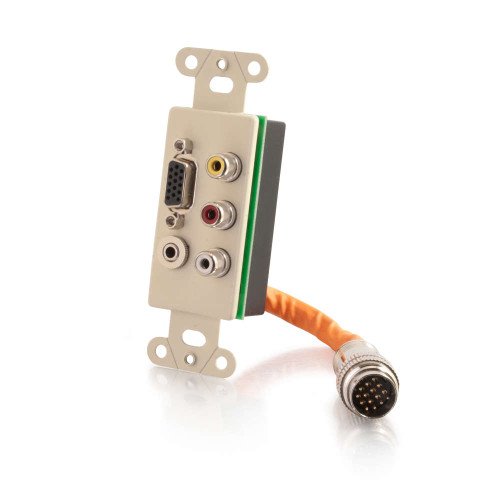 C2G-60023 | RapidRun Integrated VGA (HD15) + 3.5mm + Composite Video + Stereo Audio Wall Plate - Ivory