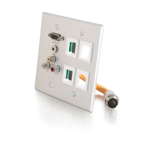 RapidRun Double Gang Integrated VGA (HD15) + 3.5mm + Composite Video + Stereo Audio + (4) Keystone Wall Plate - Brushed Aluminum