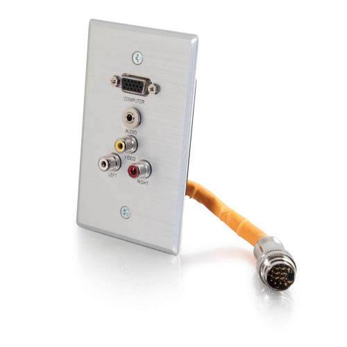 RapidRun Single Gang Integrated VGA (HD15) + 3.5mm + RCA Audio/Video Wall Plate - Brushed Aluminum