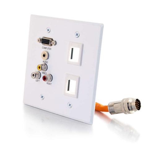 RapidRun Double Gang Integrated VGA (HD15) + 3.5mm + Composite Video + Stereo Audio + 2 Keystones Wall Plate - White