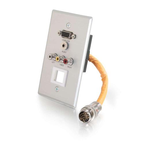 C2G-60039 | RapidRun Single Gang VGA (HD15) + 3.5mm + Composite Video + Stereo Audio + Keystone Wall Plate - Brushed Aluminum