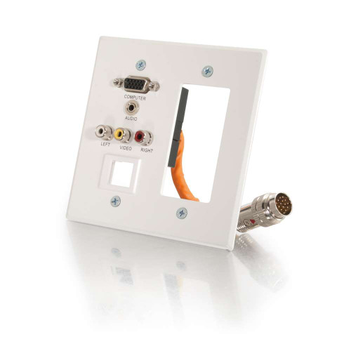 RapidRun Double Gang Integrated VGA (HD15) + 3.5mm + Composite Video + Stereo Audio + Keystone + Wall Plate - White