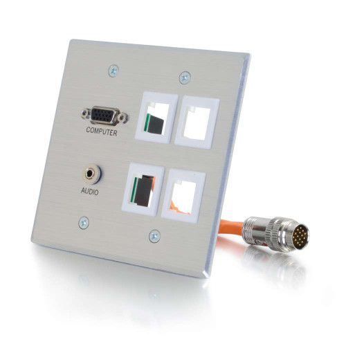RapidRun VGA(HD15) + 3.5mm Stereo + 4 Keystones Audio Double Gang Wall Plate - Brushed Aluminum