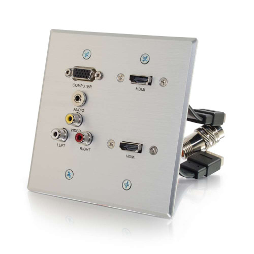 RapidRun VGA, Stereo Audio, Composite Video and RCA Stereo Audio Double Gang Wall Plate with Dual HDMI Pass Through