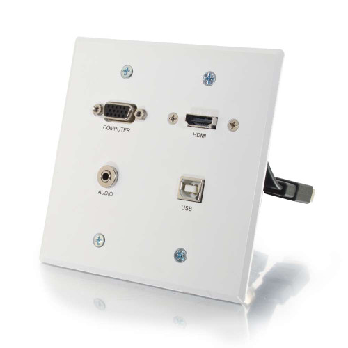 RapidRun VGA + 3.5mm Double Gang Wall Plate + HDMI and USB Pass Through - White