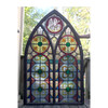 G17070 - Antique Arched Top Gothic Painted & Fired Stained Glass Window