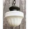 L18042 - Antique Brass and Milk Glass Pendant Light Fixture