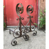 M18011 - Pair of Antique Colonial Revival Wrought Iron Andirons