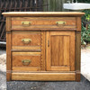 F18088 - Antique Renaissance Revival Ash Side Table/Commode Cabinet