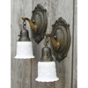 609496 - Pair of Antique Art Nouveau Wall Sconces with White Shades