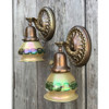 L17015 - Pair of Antique Sconces with Art Glass Shades