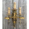 L17030 - Antique Cast Brass French Three Arm Candle Sconce