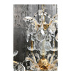 L17189 - Contemporary Gold Plated Brass and Crystal Six Arm Chandelier