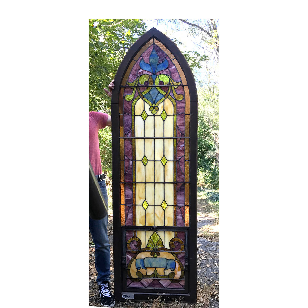 G17069 - Antique Arched Top Gothic Stained Glass Window