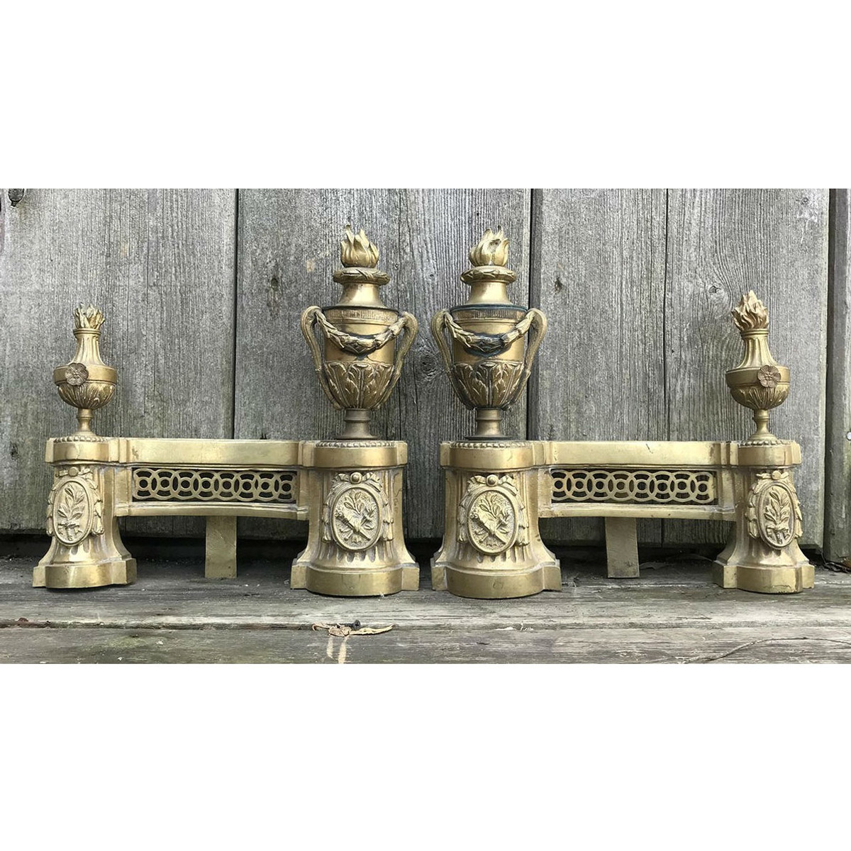 805066 - Pair of Antique Baroque Style Chenets