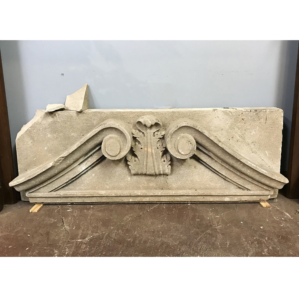 907176 - Salvaged Antique Carved Stone Building Pediment