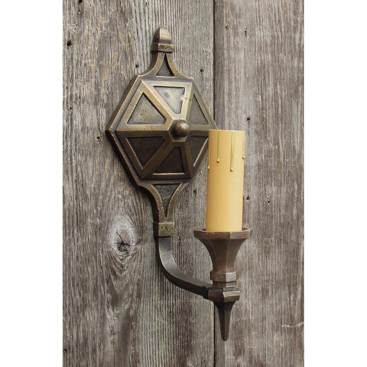 606516 - Antique Tudor Revival Candle Arm Wall Sconce