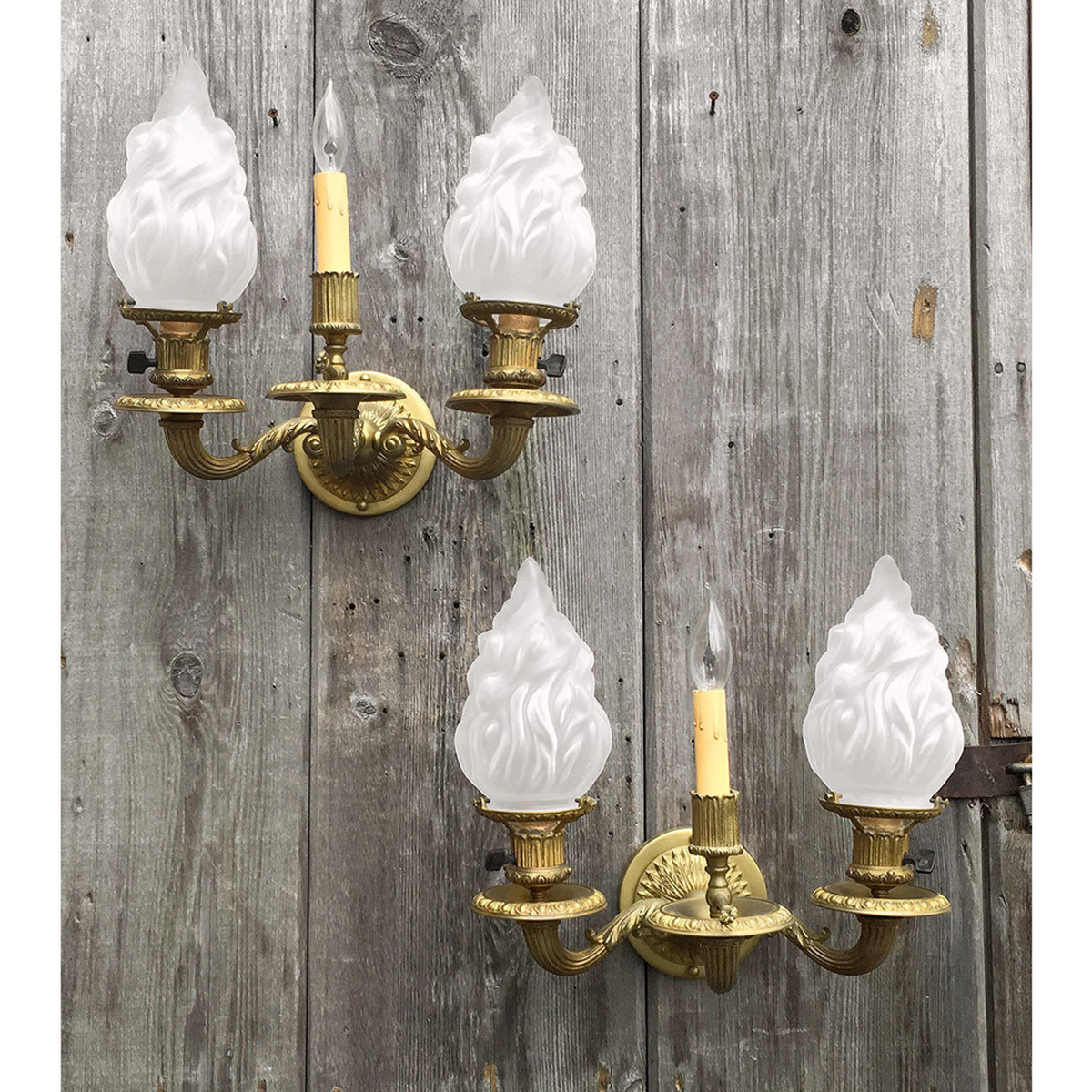 607577 - Pair of Antique Neoclassical Gas & Electric Style Wall Sconces