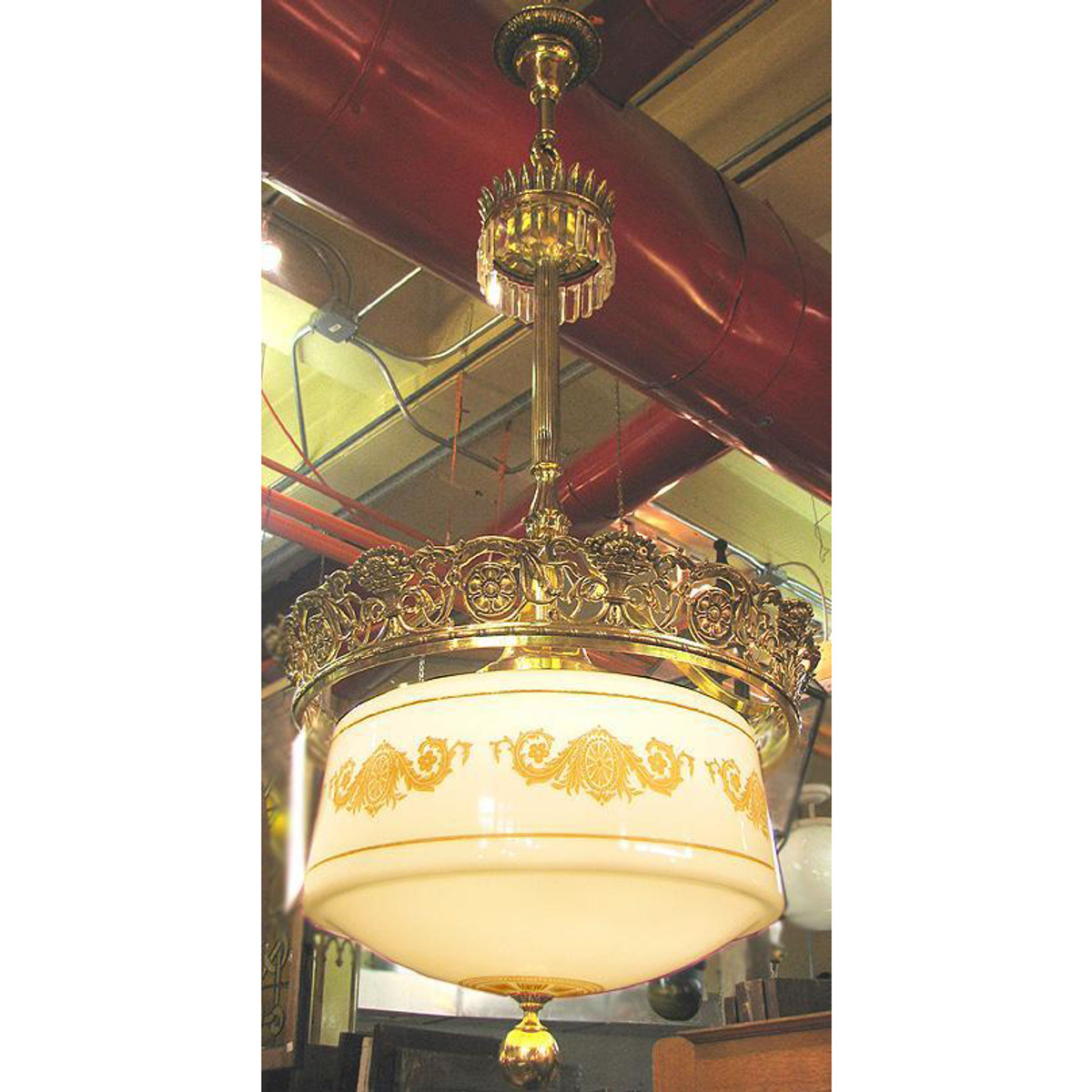 610292 - Large Scale Antique Light Fixture with Milk Glass Globe - Unrestored