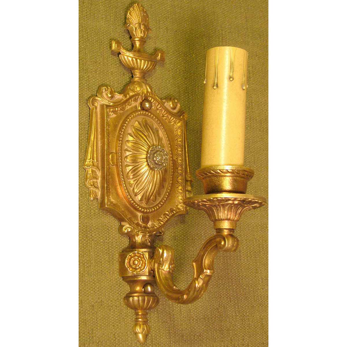 L12110 - Antique Beaux Arts Candle Arm Wall Sconce