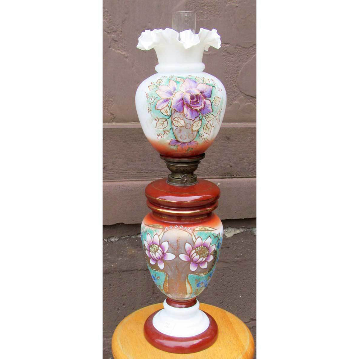 L13250 - Antique Painted and Fired Milk Glass Kerosene Table Lamp