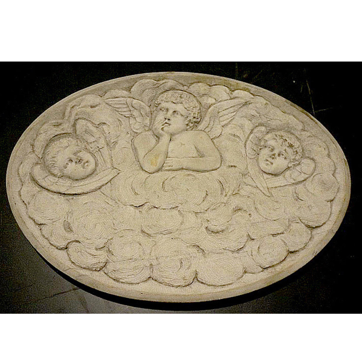 A14026 - Antique Mediterranean Revival Carved Marble Panel