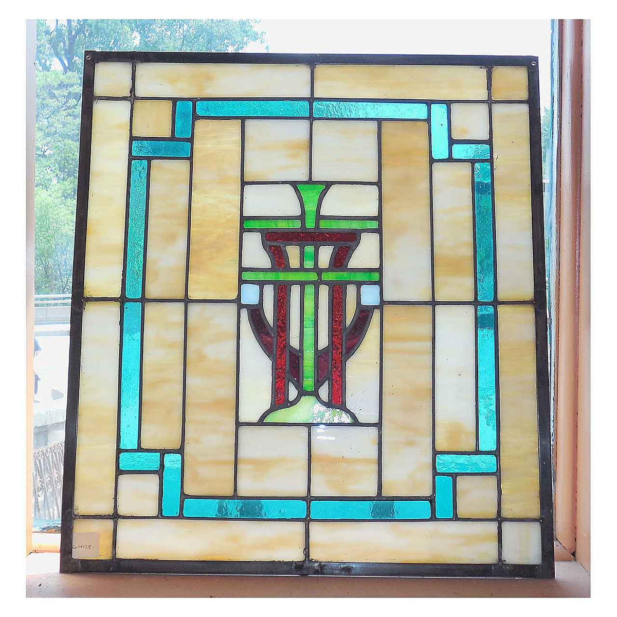 G14028 - Antique Arts and Crafts Stained Glass Window