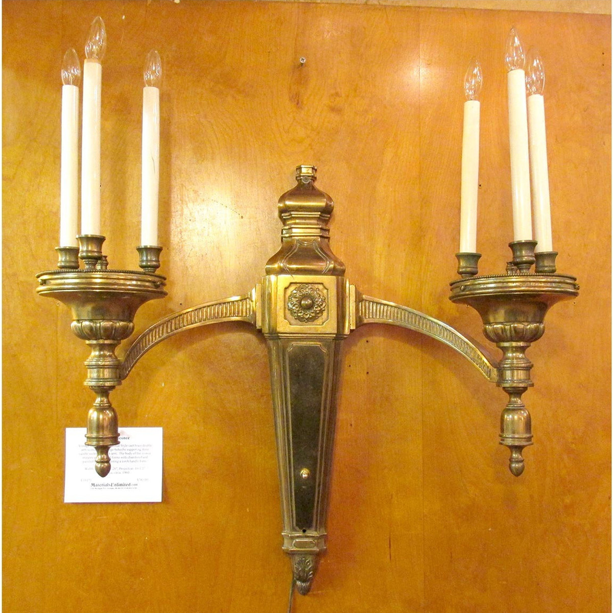 L16171 - Vintage Neoclassical Double Arm Six Socket Candle Sconce