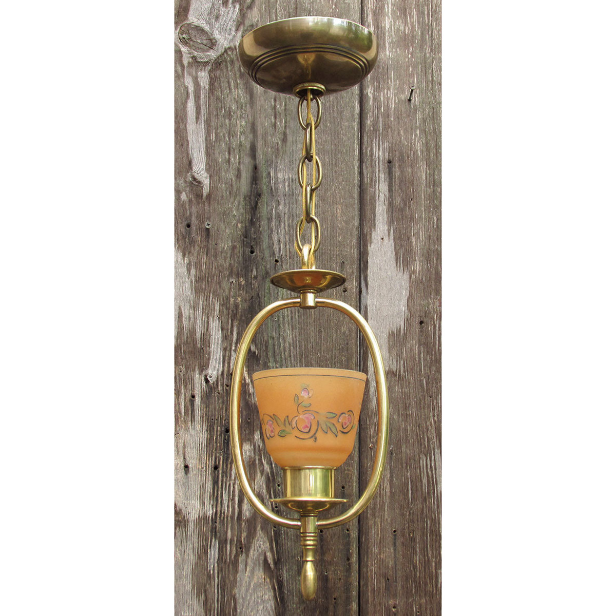 L16178 - Antique Art Moderne Hanging Harp Fixture