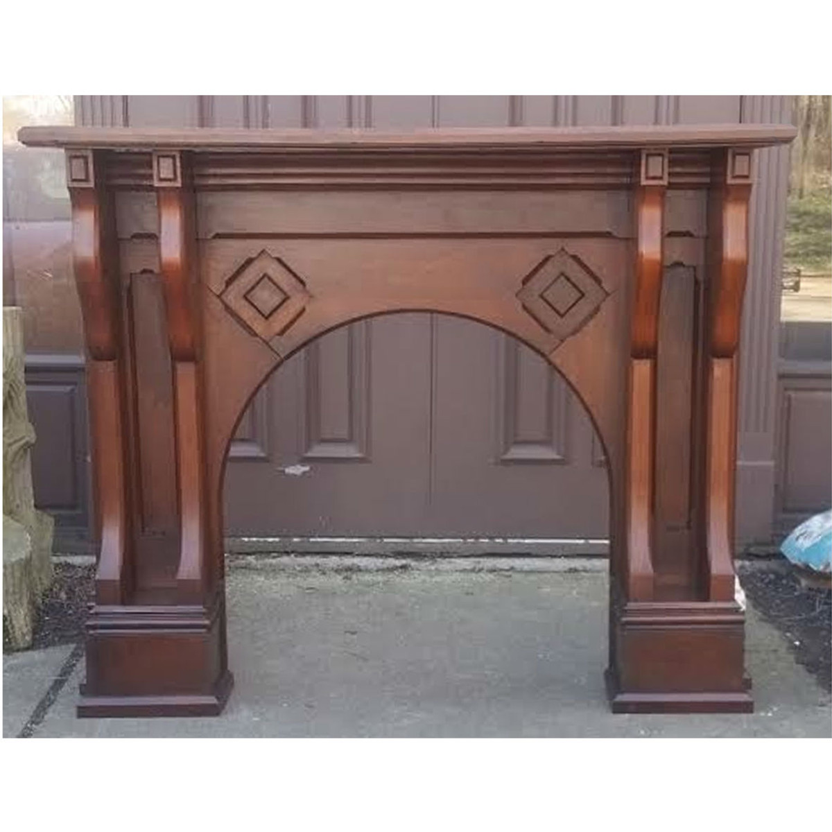 M17004 - Antique Walnut Renaissance Revival Half Mantel