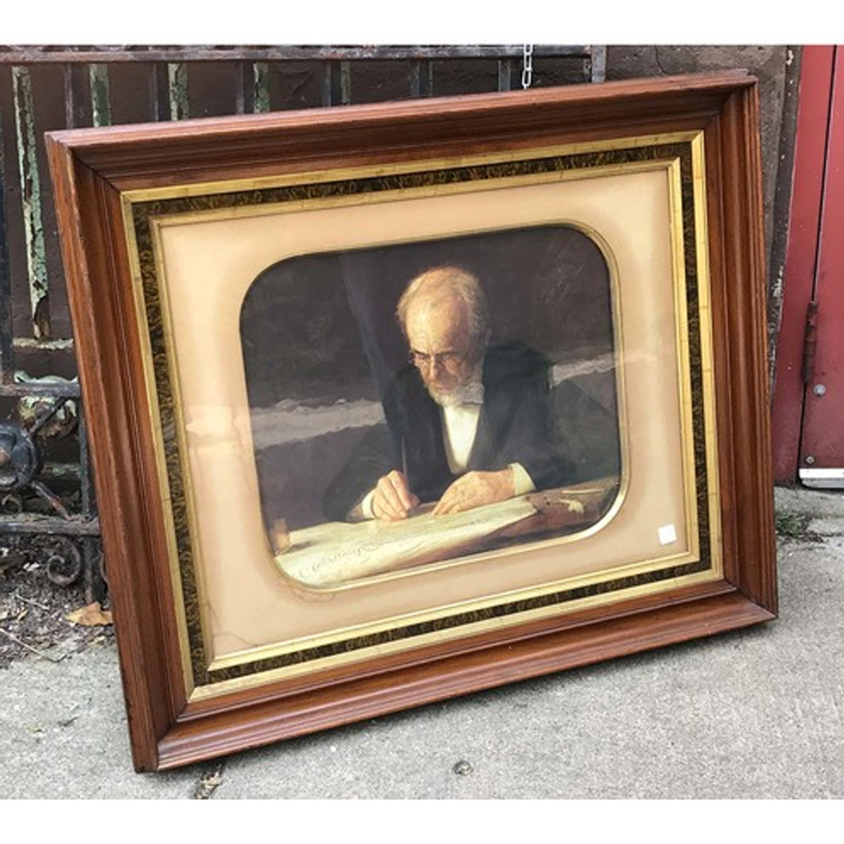 A17056 - Vintage Portrait Print in Antique Frame