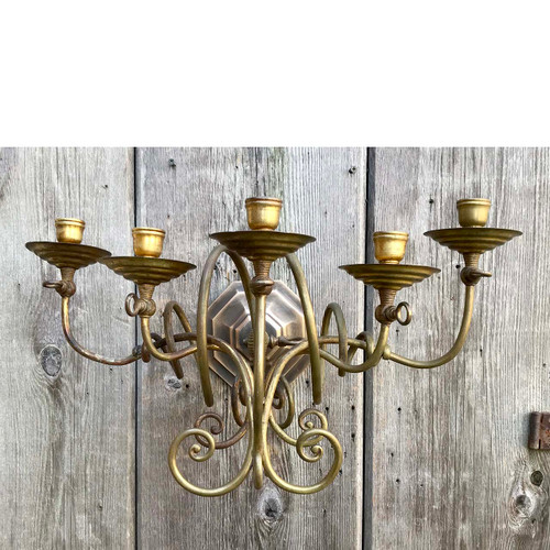 L17248 antique late victorian brass five arm candle sconce