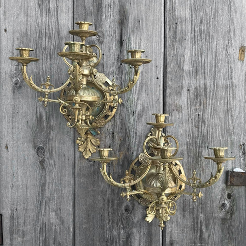 L17290 - Pair of Antique Beaux Arts Style Candle Sconces
