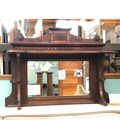 A17130 - Antique Victorian Era Walnut Backsplash and Mirror Fragment