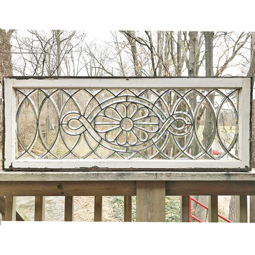 G16034 Antique Late Victorian Beveled Stained And