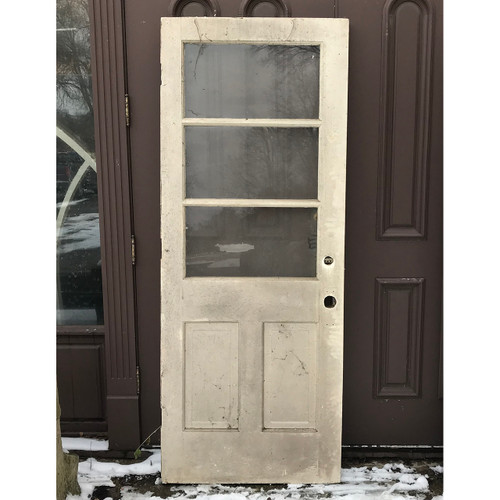 "D18007 -  Antique Pine Exterior Door with Glass 31-1/2"" x 79-1/2"""