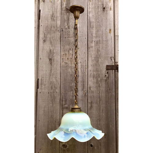 L18026 - Antique Single Pendant Fixture with Opal Glass Shade