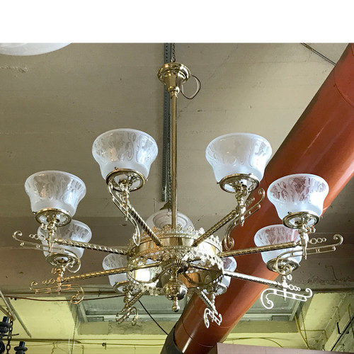 L18031 - Vintage Victorian Style Brass Eight Arm Hanging Fixture
