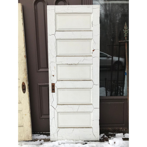 "D18021 - Antique Pine Five Horizontal Raised Panel Interior Door 29-1/2"" x 79-1/4"""