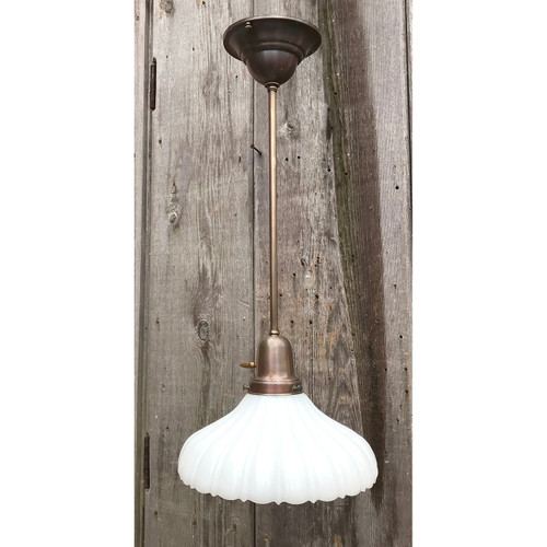 "L18035 - Custom Brass Pendant with Antique ""Sheffield"" Style Shade"
