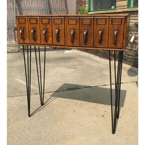 F18029 - Antique 8 Drawer File Cabinet Table