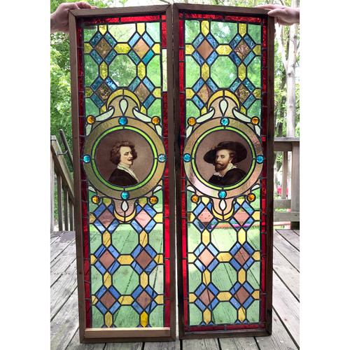 G18038 - Pair of Antique Victorian Stained Glass Windows