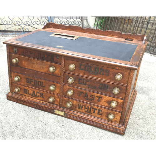 F18054 - Antique Late Victorian Combination Cash Register Spool Cabinet
