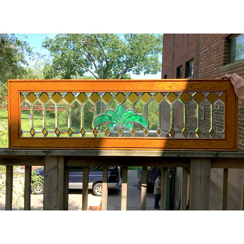 G18055 - Antique Colonial Revival Beveled and Stained Glass Transom Window