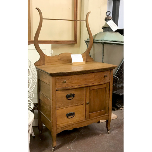 F18074 - Antique Ash Colonial Revival Washstand with Harp Back